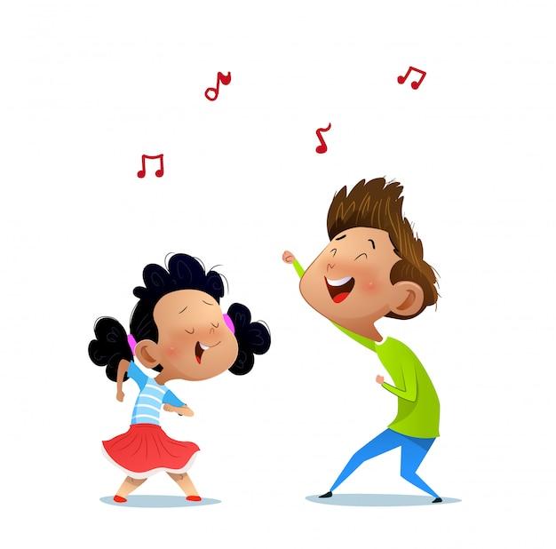Иллюстрация двух танцующих детей. Premium векторы