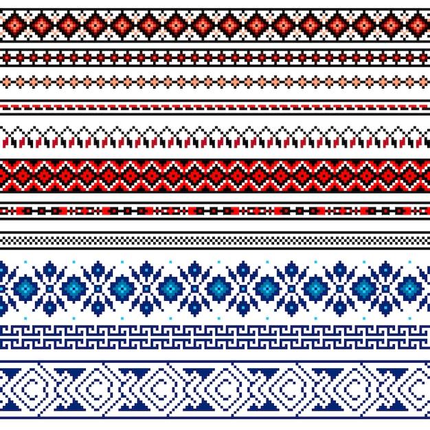 Иллюстрация украинского народного бесшовного орнамента. этнический орнамент. граничный элемент. Бесплатные векторы