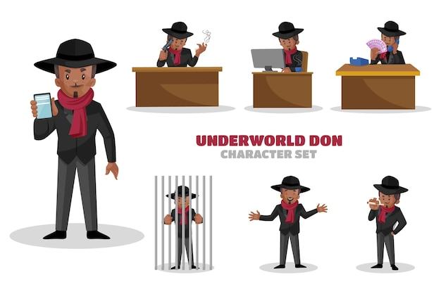 Иллюстрация набора символов underworld don Premium векторы