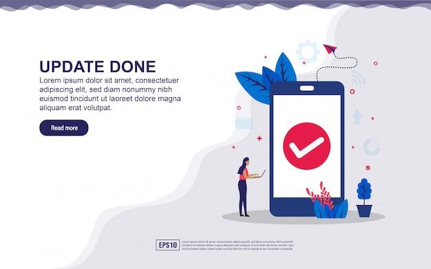 Иллюстрация обновления сделано и безопасная система с смартфон и крошечные люди. иллюстрация для целевой страницы, содержание в социальных сетях, реклама. Premium векторы