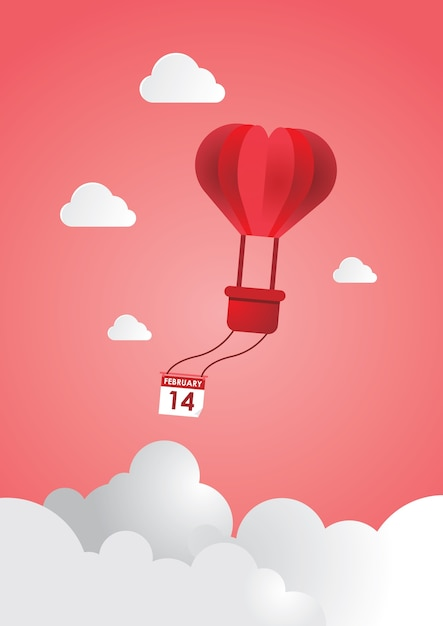 Illustration Of Valentine Day Origami Made Hot Air Balloon Flying