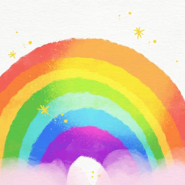 Иллюстрация яркой акварельной радуги в облаках Бесплатные векторы
