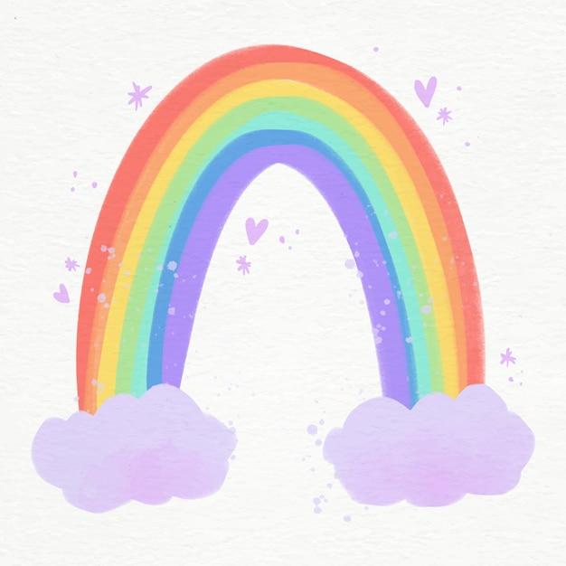 Иллюстрация яркой акварельной радуги с облаками Бесплатные векторы