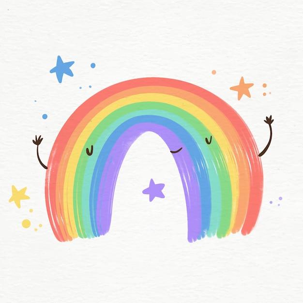 Иллюстрация яркой акварельной радуги смайлик Бесплатные векторы