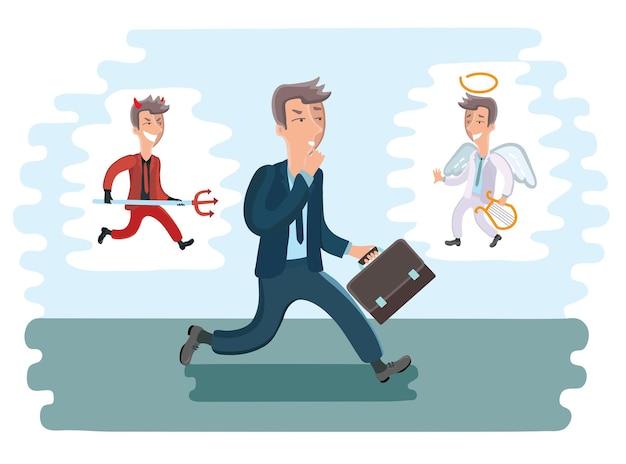 걷는 만화 사업가의 그림입니다. 그의 다른 측면에서 악마와 천사 프리미엄 벡터