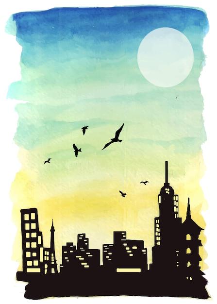日没時の水彩風景のアートワークと壮大な建物のシルエットのイラスト。 Premiumベクター