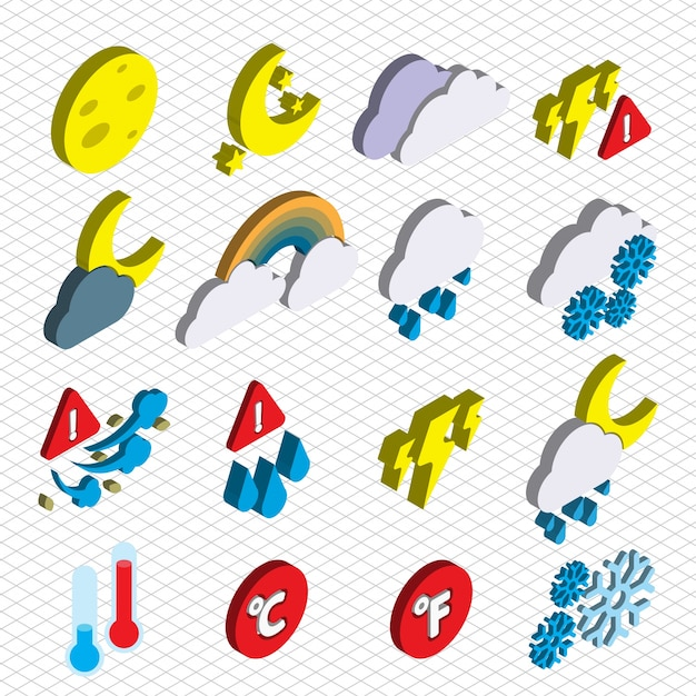 Illustration of weather icons set concept in\ isometric graphic