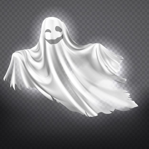 흰색 유령, 투명 한 배경에 고립 된 팬텀 실루엣 미소의 그림. 무료 벡터
