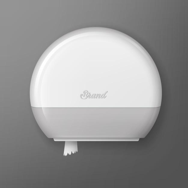 白いプラスチック製トイレパッパーロールディスペンサーのイラスト Premiumベクター