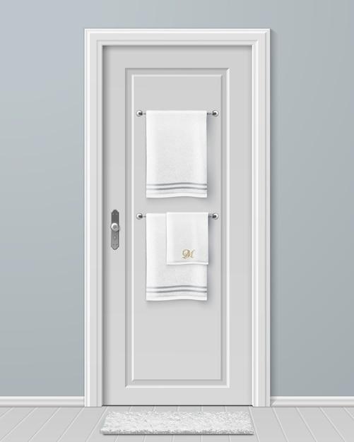 モダンなバスルームのドアのハンガーに掛かっている白いタオルのイラスト Premiumベクター