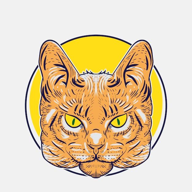 デザインやロゴのニーズのための野生の猫のイラスト Premiumベクター