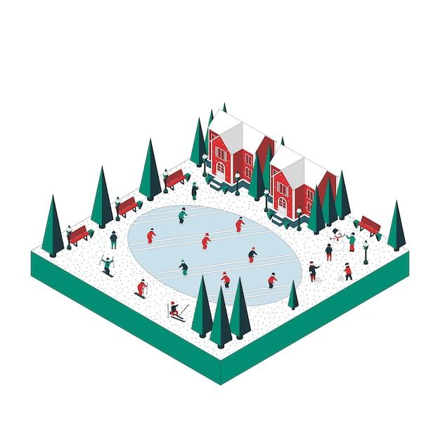 Иллюстрация зимнего праздника. местные жители катаются на коньках, катаются на лыжах, играют в снежки. Premium векторы