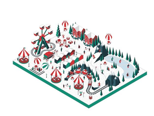 Иллюстрация зимнего праздника Premium векторы