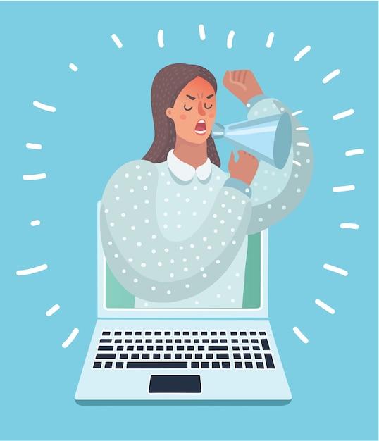 メガホンを持つラップトップコンピューターから女性のイラストが表示されます。 Premiumベクター