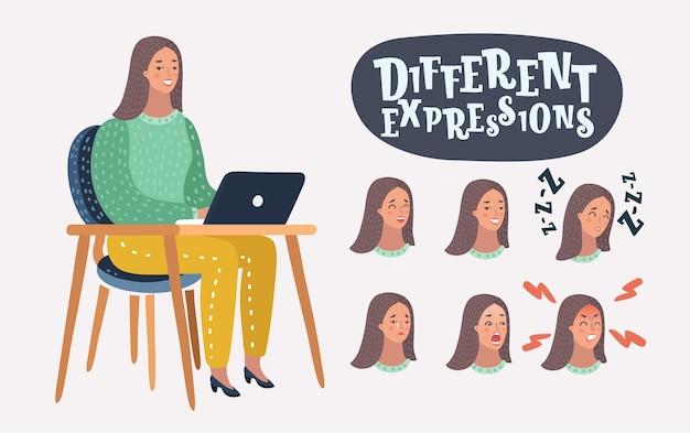 Иллюстрация женщины с набором различных выражений лица. персонажи фамале у ноутбука на столе. Premium векторы