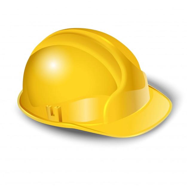 Иллюстрация работника желтый шлем. изолированные на белом Premium векторы