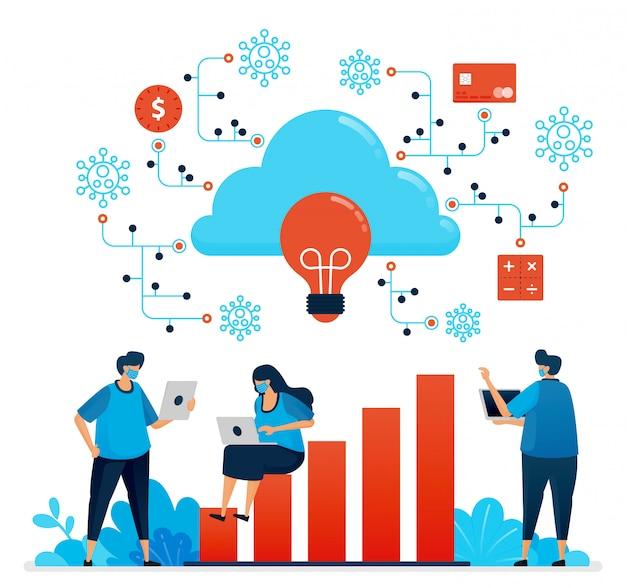 クラウドコンピューティングによるcovid 19の大流行の際の作業の図。新しい通常の金融セキュリティネットワーク。ランディングページ、ウェブサイト、モバイルアプリ、ポスター、チラシ、バナーに使用できるデザイン Premiumベクター