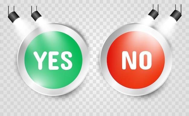 はいまたはいいえボタンの図。選択アイコン Premiumベクター