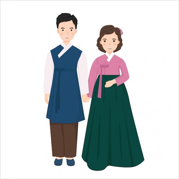 韓国の伝統的なウェディングドレスの若いカップルのイラスト プレミアムベクター