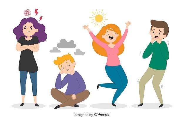 Иллюстрация молодых людей с разными эмоциями Premium векторы