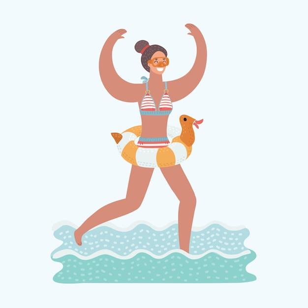 Иллюстрация молодых радоваться женщина работает в морской воде с маской на лице и трубкой в руке. резиновая утка надувное кольцо на ее талии Premium векторы