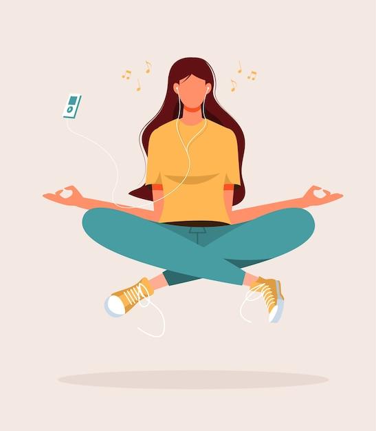 Иллюстрация молодой женщины, занимающейся йогой, медитацией, расслаблением, отдыхом, здоровым образом жизни Premium векторы