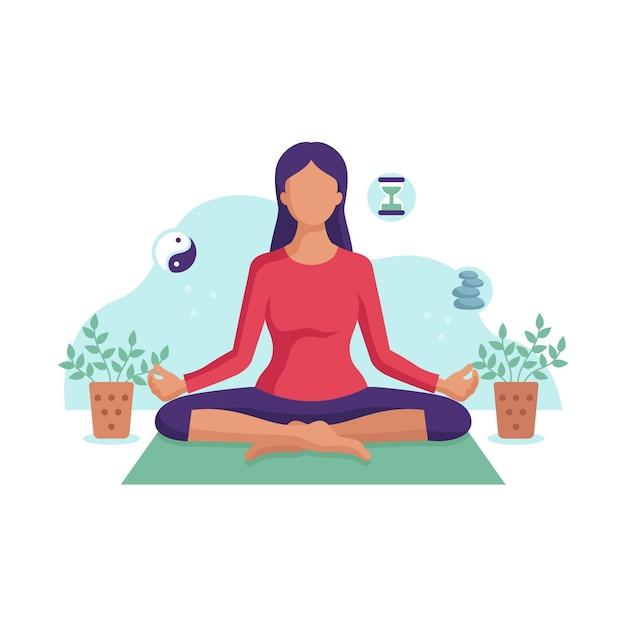 Иллюстрация медитации молодая женщина Бесплатные векторы