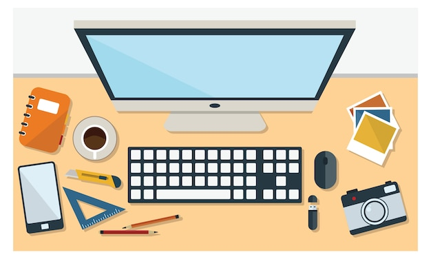 Illustration of office desk and stationary in flat style top view Premium Vector