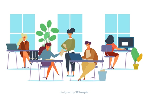 Illustration of office workers sitting at desks Free Vector