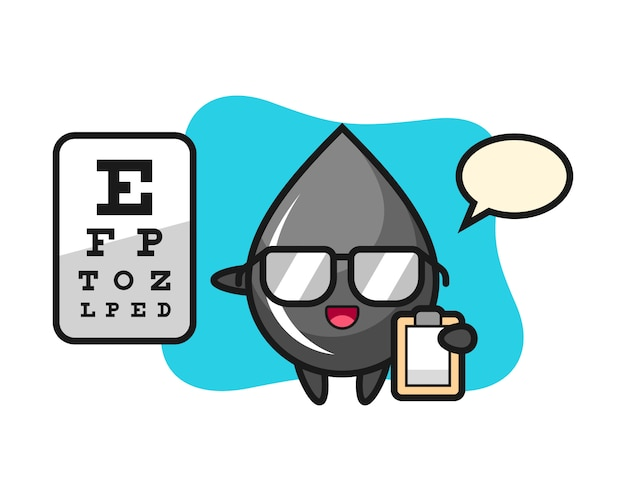 Illustration of oil drop mascot as a ophthalmology Premium Vector