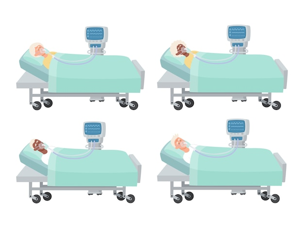 Illustration of old people lying in hospital bed with oxygen mask and ventilator  on white, men and women in reanimation during coronavirus infection used for magazine, web-pages. Premium Vector