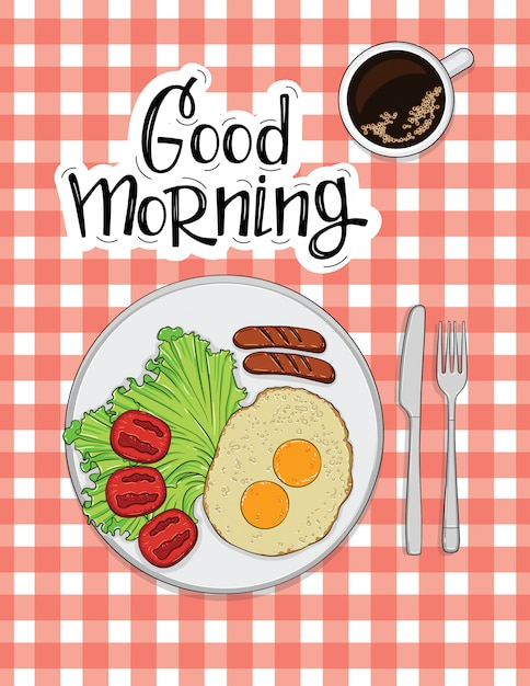 Illustration of omelet with sausages, tomato and coffee Premium Vector