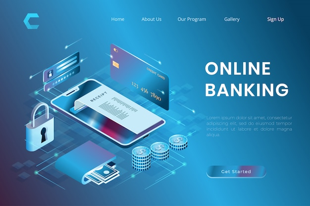 Illustration of online payment security, credit card transactions, online banking in isometric 3d style Premium Vector