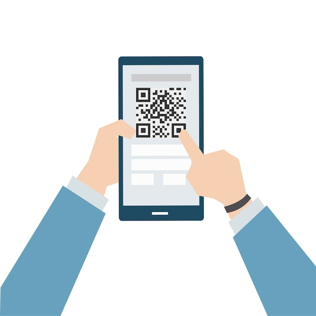 Illustration of online payment with matrix barcode Vector