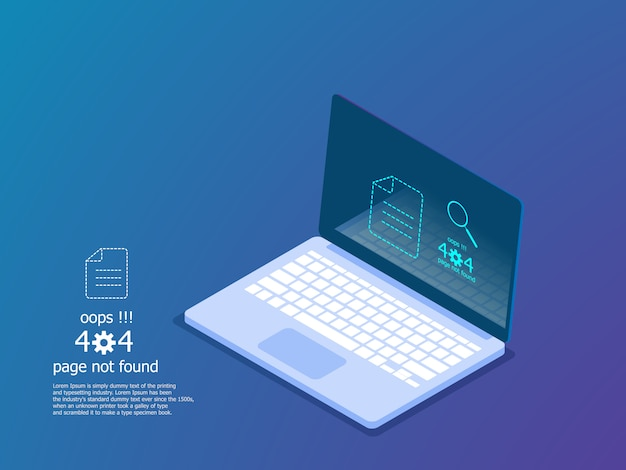 Illustration of oops 404 error page not found, error message vector isometric Premium Vector