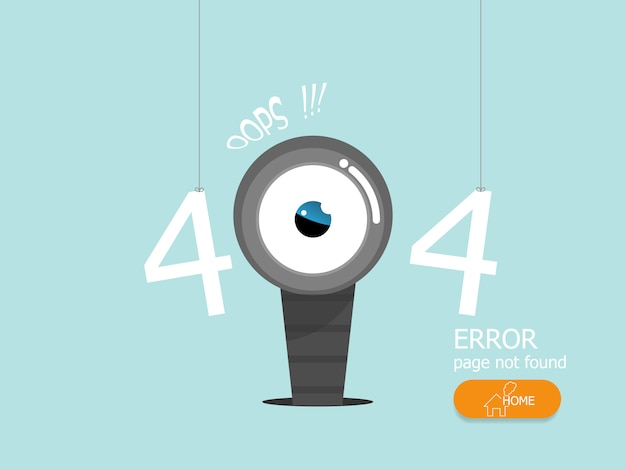 Illustration of oops 404 error page not found vector flat design Premium Vector