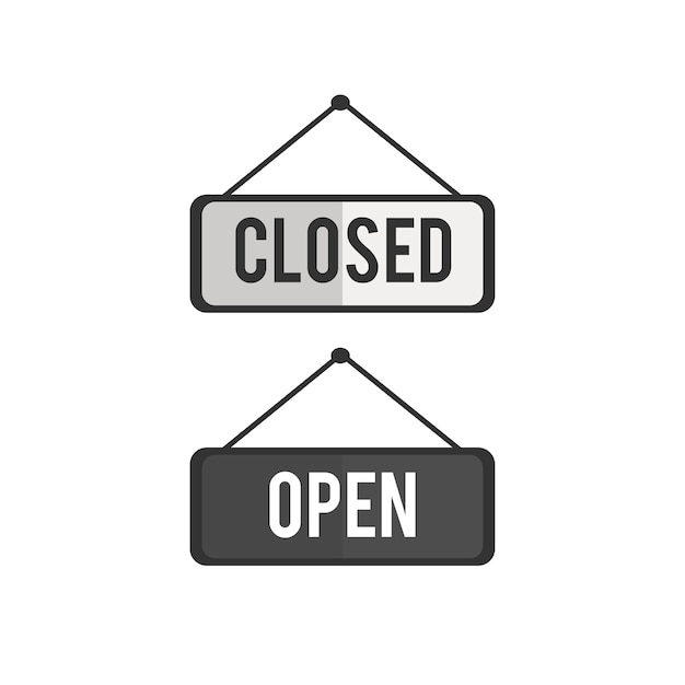 Illustration of open and close sign vector Free Vector