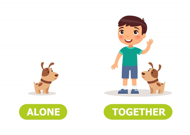 Illustration of opposites alone and together. Premium Vector