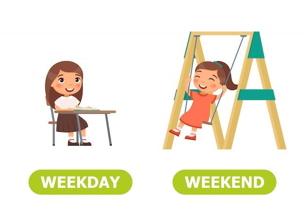 Illustration of opposites weekday and weekend. Premium Vector