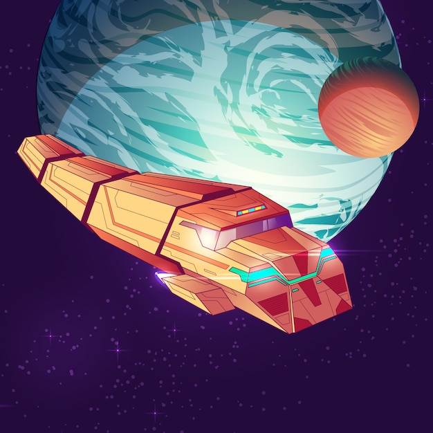 Illustration of outer space with cargo spaceship Free Vector
