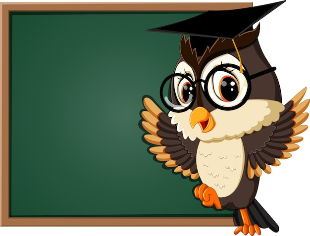 Illustration of owl teacher at blackboard | Premium Vector