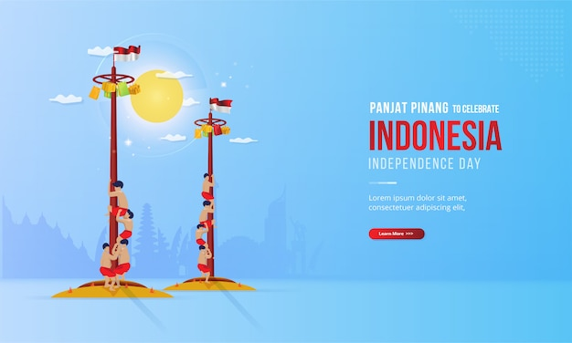 Illustration of panjat pinang or pole climbing to celebrate indonesia's independence day Premium Vector