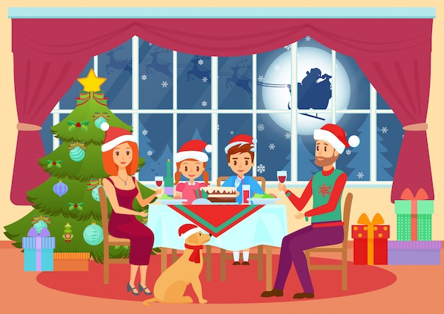 Illustration of parents and children kids sitting at table and dining on christmas eve Premium Vector