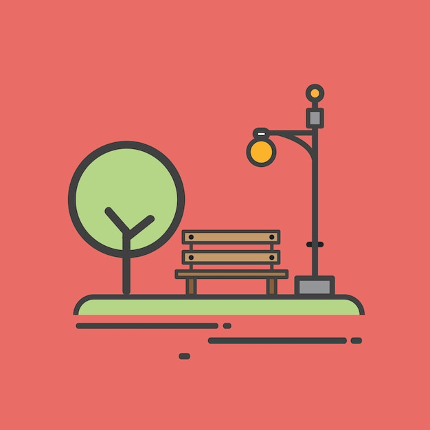 Illustration of a park bench Free Vector