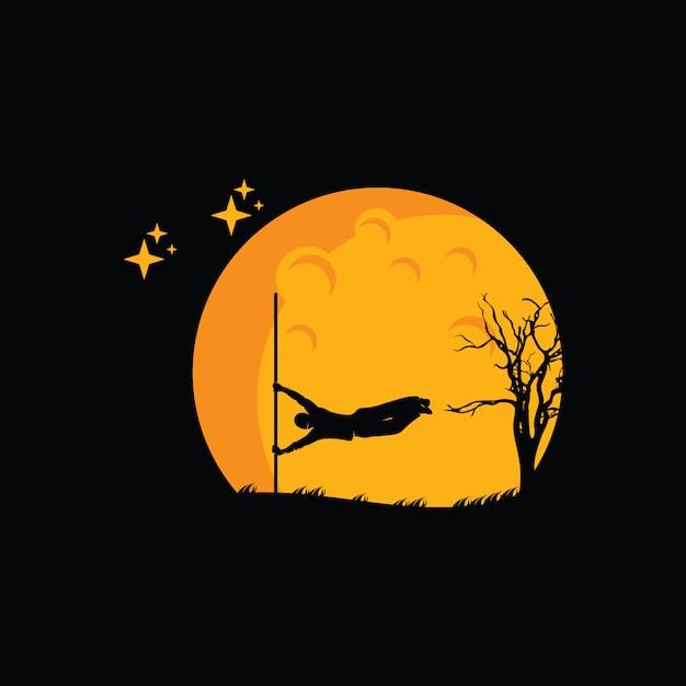 Illustration of parkour logo design, parkour player silhouette Premium Vector