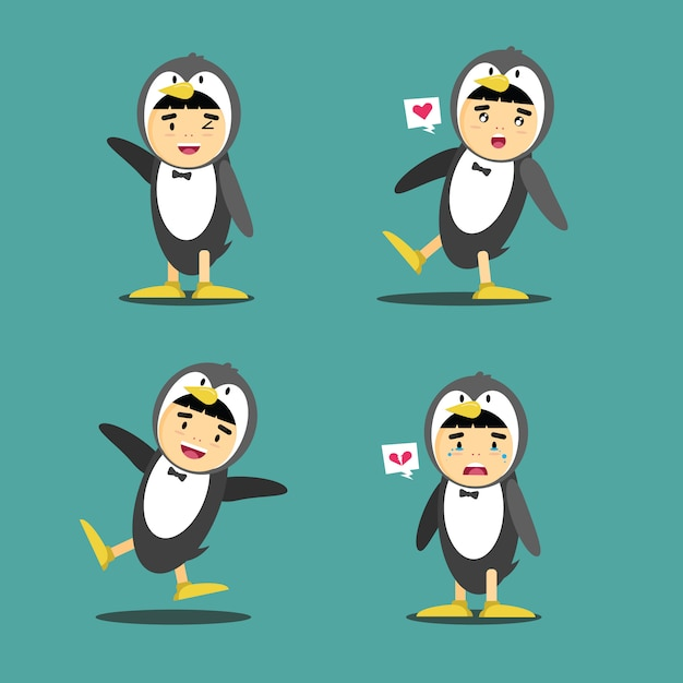 Illustration of penguin costume character design Premium Vector
