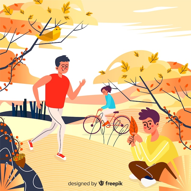 Illustration of people in autumn park Free Vector