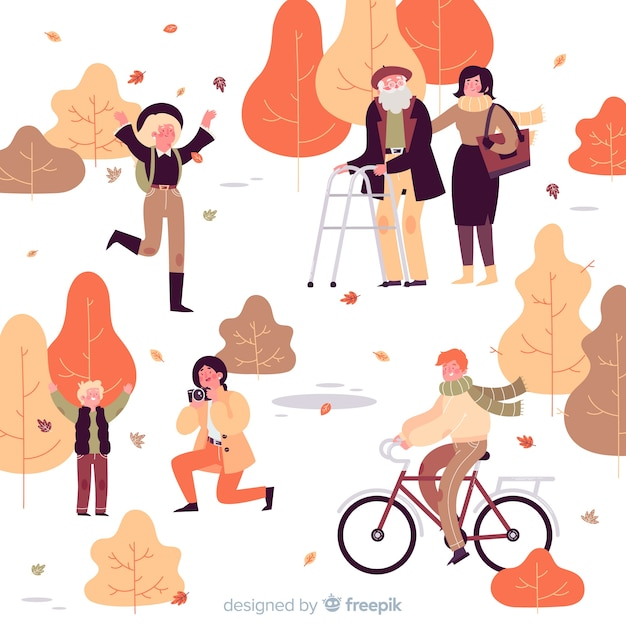 Illustration of people in the autumn park Free Vector