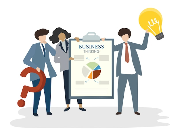 Illustration of people avatar business plan concept Free Vector