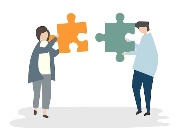 Illustration of people avatar teamwork concept Free Vector